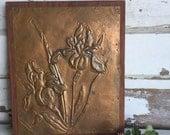 Vintage Copper Iris 3D Wall Art - Handmade Dimensional Metal