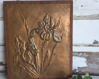 Vintage Copper Iris 3D Wall Art - Handmade Dimensional Metal