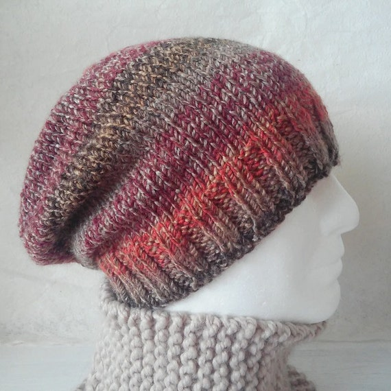 Knitting Beanie Pattern For Beginners : KNITTING PATTERN/CHARLEYMans Slouch Beanie Easy/ Knit