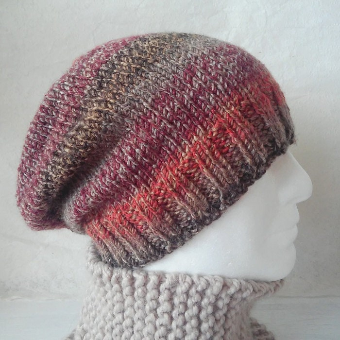 Knitting Patterns For Beginners Beanie : KNITTING PATTERN/CHARLEYMans Slouch Beanie Easy/ Knit