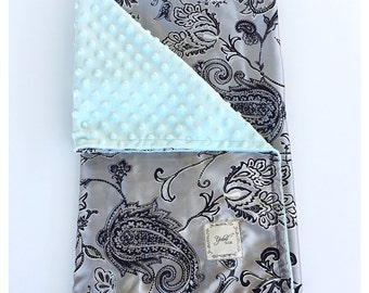 BABY BLANKET / Pailey satin print with soft silky minky, silver and black paisley,  Baby nursery gift, baby boy blanket, steel gray satin