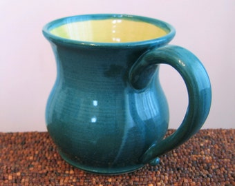 Large Coffee Mug, Pottery Mug - Pot Belly Stoneware Ceramic Cup in Peacock and Lime 16 oz.