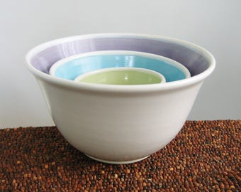 Ceramic Nesting Bowls - Wedding Gift - Stoneware Pottery Prep Bowl Set Small Mermaid Color Scheme