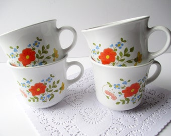 Vintage Corelle Wildflower Coffee Tea Cups Set of Four - Retro Kitchen