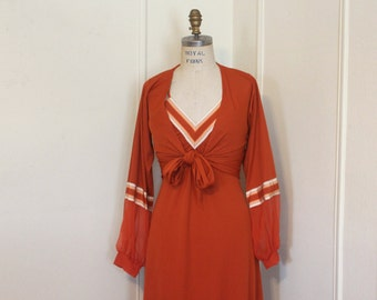 1970s Rusty Orange Halter Dress with cocktail jacket - vintage size 6,  small