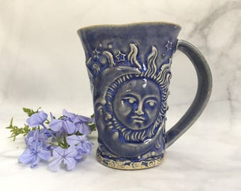 Ceramic Sun Moon and Stars Coffee Cup - Sun Moon Stars Cup - Handmade Moon Sun Stars Mug Blue Moon