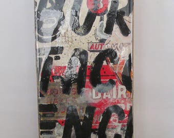 Taco Automat - mixed media on wooden cigar box top, ready to hang,