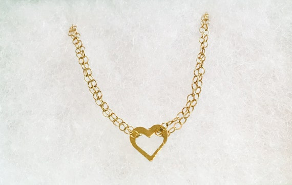 10K solid GOLD 14K Gold filled fill heart love double chains necklace chain pendant charm boho vintage