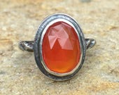 Oxydized sterling silver ring with freeform orange carnelian faceted cabochon size 7.5 ready to ship