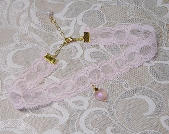 Pink Lace Heart Pendant Choker Necklace, Vintage Lace Choker Necklace,Pink Choker Necklace, Hipster,Victorian, Valentine Gift for Her