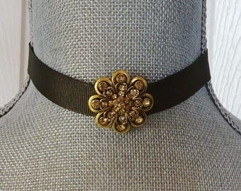 Brown Ribbon Choker Necklace, Gold Rhinestone Slider Focal, Hipster, Prom Choker, Brown Choker, Rhinestone Choker Necklace, Gift for Teen