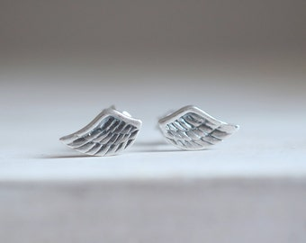 Wing earrings. Sterling silver wing studs. Silver wings, wing studs, Silver wing studs, bohemian, feather earrings, boho earrings, boho chic