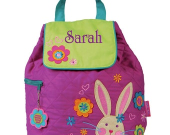 Girls Backpack Personalized Bunny Stephen Joseph Quilted Preschool Toddler