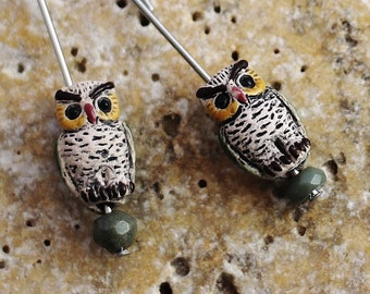 Owl Earrings, Minimalist Style, Stainless Steel Ear Wires, Tiny Ceramic Owl Bead, Dangle Cute Owl Charm Earrings Handmade by Hendywood