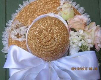 Bridal Hat, Decorative Wedding Hat, Event Hat, Door Hat, Reception Hat, Straw Hat