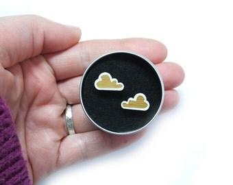 Cloud Stud Earrings, Cloud Jewellery, Weather Jewellery, Wooden Cloud Earrings, White Clouds, Laser Cut Earrings, Gifts for Her, Scandi