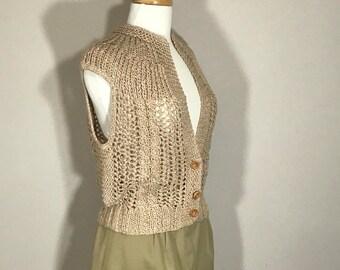 Vintage Jennifer Applegate Hand Made Sweater, Hand Made Vest, Crochet Sweater Vest, Netural Sweater Vest