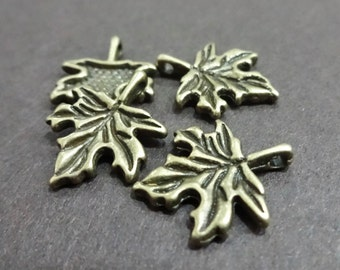 10, Maple Leaf Charms 14x17mm hole: 1.5mm