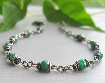 Emerald Bracelet, Heart Chakra Bracelet, Wire Wrapped Emerald Jewelry, Sterling Silver Emerald Beaded Bracelet, May Birthstone, Gift for Her