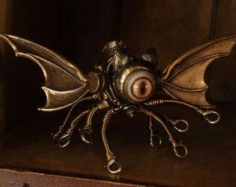 Winged Cat Octopus Robot Sculpture