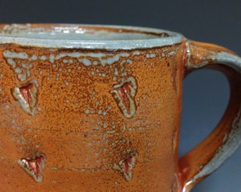 Coffee Mug. Tea Cup. Textured Pattern. Soda Fired Stoneware Pottery (#2)