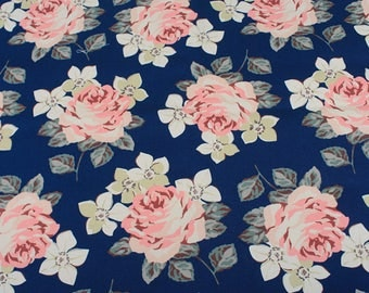 4214 - Cath Kidston Richmond Rose (Dark Blue) Cotton Canvas Fabric - 57 Inch (Width) x 1/2 Yard (Length)