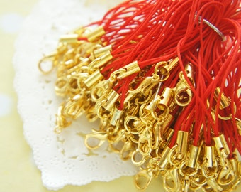 10 pcs Cell Phone Straps with Lobster Clasp Gold / Red YU034