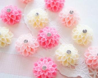 SALE 12 pcs Dahlia Flower Cabochon (19mm) FL263 Pink Set