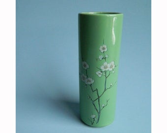 Vintage McCoy Green Vase with Apple Blossoms