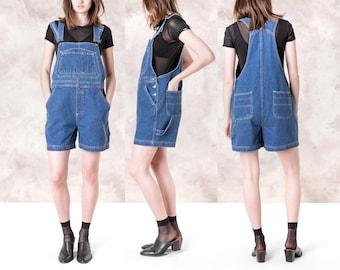DENIM OVERALL SHORTS women 90s vintage Bill Blass classic summer Medium / Large basics overalls