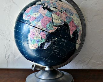 Replogle 12 inch Midnight Globe, Vintage world globe, world map, , mid century globe, office