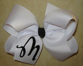 CUSTOM X-Large 6 inch White with Black Personalized Initial Letter Big Boutique Hair Bow