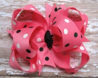 Hot Pink, Black, and White Polka Dots Triple Loop Grosgrain Hair Bow - Petite 3 inch Boutique Hairbow