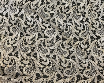 Ivory & Metallic Feather Leaf Flourish LACE Fabric - 1 Yard
