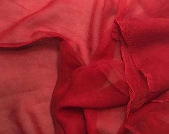 Silk Gauze Chiffon - Hand Dyed Scarlet Red - 1/2 Yard