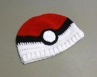 Messy Bun Hat Ponytail Hat Beanie Top Opening Pokemon Inspired Red White Black