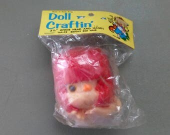 Angie Head and Hands , Doll Head and Hands Set, Yarn Hair ,3 1/2 inches ,No. 164-32 ,Doll Craftin ,Bright Red Hair