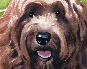 RED GOLDENDOODLE Art Print Watercolor Signed by Artist DJ Rogers