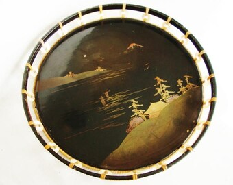 vintage Japanese lacquer wood tray round black tray with mother of pearl ring open work side
