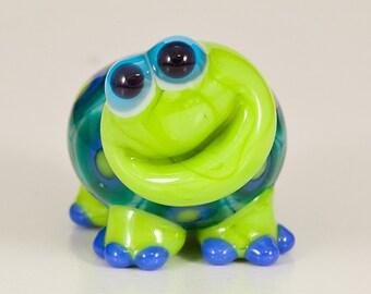 Happy Green Blue Turtle Lampwork Bead