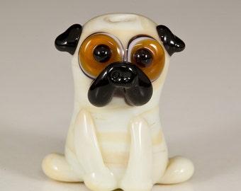Fawn Pug Lampwork Dog Bead