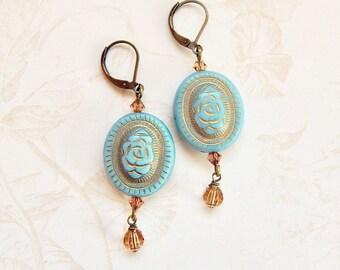 Rose earrings - blue rose drop earrings - Swarovski crystal - gold crystal - vintage style earrings