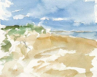 SALE Sand Dunes on PEI, Original Watercolour Painting, 7 x 7 inches, Water, Ocean