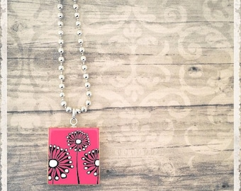 Sale! Scrabble Tile Art Pendant - Mod Garden Pink - Scrabble Jewelry Charm - Customize - Choose Your Style