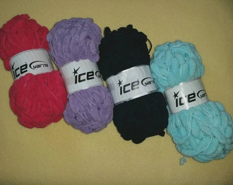 Cocoon Yarn or Cocoon Lurex Yarn by Ice Yarns, novelty pompom microfiber yarn in candy pink, light turquoise, lilac, or navy blue