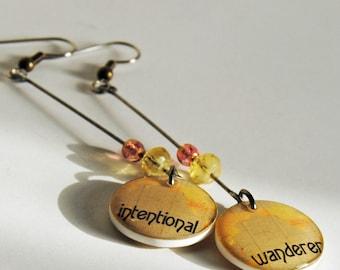intentional wanderer earrings,resin earrings,wanderer earrings, journeys, gifts under 20