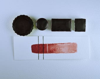 Half Pan or Small Cap - Tulip Mayan Red, Anthesis Arts Artisanal Handcrafted Handmade Watercolor Paints, Choose Your Size