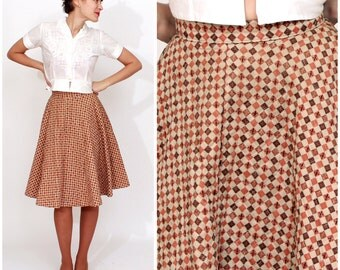 Vintage 1950s Quilted Brown Checkerboard Circle Skirt by Carole Chris | XS