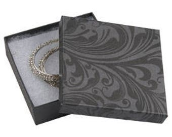 50 Pack of 3.5X3.5X1 Inch Size High Quality Black Fleur Cotton Filled Jewelry Presentation Boxes