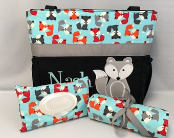 Fox Diaper Bag SET ... Urban Zoologie ... Aqua Gray  FOXES .. DIAPER Bag ... Wipe Cover ... Bottle Pockets ... Personalized Free